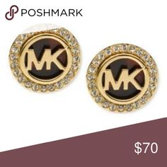 Michael Kors Earrings Simple sweet and stylish clip-on stud earrings are an iconic accent that will never go out of style. With Michael Kors logo engraving for signature appeal, with tortoise color background and a gorgeous gold-tone setting adding a glimpse of glam they're the perfect punctuation to any outfit. Pair them with everything from a classic lbd to your favorite weekend wear. Michael Kors Jewelry Earrings