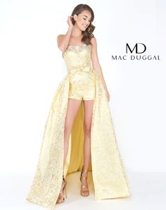 785790bde15e Mac Duggal Prom Romper with Overskirt www.bellasalabama.com. Gold love!  Strapless metallic brocade gown accented with a beaded neckline giving way  to shorts