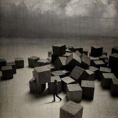 Sarolta Bán digital photo manipulation - virtual installation with cubes
