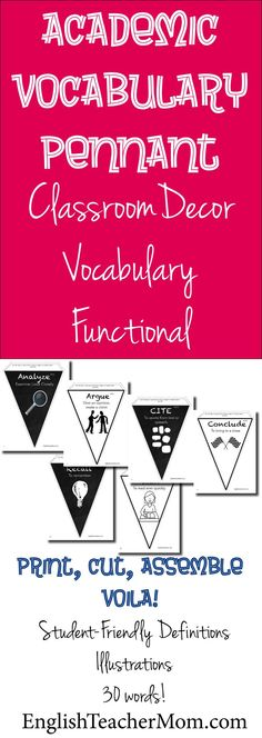 Academic Vocabulary Classroom Decor: Print, Cut, Arrange, and Done! 30 High-Use academic vocabulary words with student-friendly definitions, illustrations, and part-of-speech.  Perfect for English Classroom decor. (scheduled via http://www.tailwindapp.com?utm_source=pinterest&utm_medium=twpin&utm_content=post135819103&utm_campaign=scheduler_attribution)