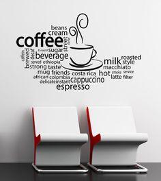 Coffee Latte Espresso Word Cloud - Vinyl Wall Art Decal. $38.00, via Etsy.