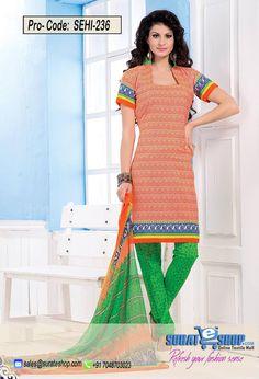 Orange & Green Salwar Kameez, Top:fabric amarican 2.00 mtrs, Bottom:fabric amarican 2.00 mtrs, Dupatta:fabric chiffon 2.25 mtrs   Visit: http://surateshop.com/product-details.php?cid=2_27_44&pid=11811&mid=0