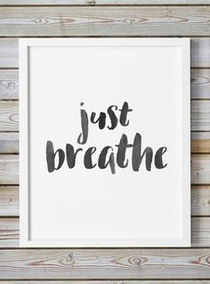 Just Breathe, Giclee Print Inspirational Office Decor Fitness Print Typography Inhale Exhale Motivation Oversized Art Caligraphy Yoga Relax by WhitePrintDesign on Etsy