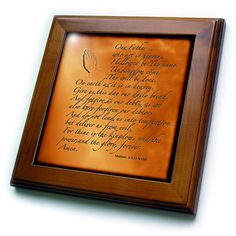 3dRose LLC ft_32545_1 Framed Tile 8 by 8Inch The Lords Prayer Matthew 6 9 13 Prayer Hands and Verse Embossed on Copper >>> You can get additional details at the image link.
