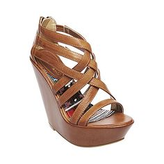 """steve madden - summer wedge """"Reeds"""" strappy and sexy and i loveeee the leather colour"""