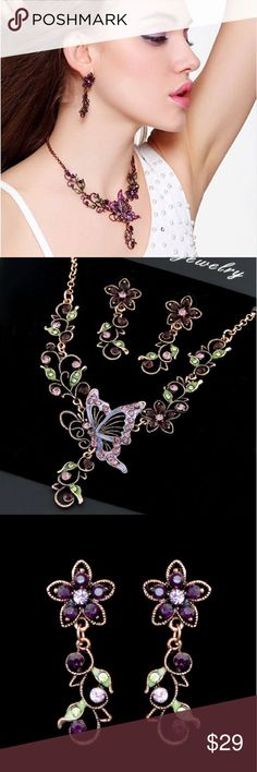 """Butterfly Necklace Set Crystal Floral Design This delicate yet elegant set is fashioned into floral design with butterfly, accented mixed color crystals. Great accessory and a unique gift.                                             Metals Type: Zinc Alloy                                                   Color: Bronze Tone                                                                   Length: Necklace: Approx. 17"""" to 19""""  Earrings: 0.7"""" X 2""""…"""
