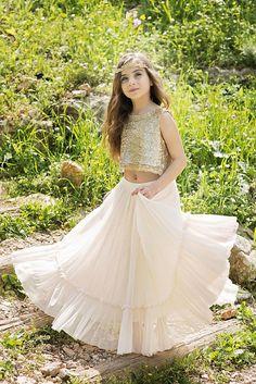 c20f0078b9f 2 Pieces Sequin Top Chiffon Skirt Flower Girl Dresses