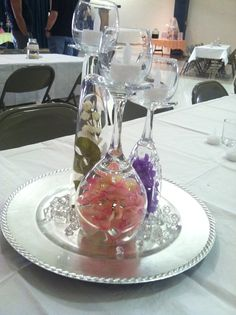 Cheap Centerpieces Use Glassware Bought From Thrift Stores These Were The Center Pieces At