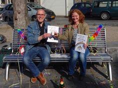 Simon Vierstra en Patricia Heijmen met hun sprookje Prinses Iris en Het Regenboogmuseum.