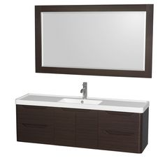 Wyndham Collection Murano Espresso Integrated Single Sink Bathroom Vanity with Acrylic Top (Common: 60-in x 17-in; Actual: 60-in x 16.5-in)