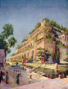 Supostamente criado pelo rei Nabucodonosor em 605 a.C. para presentear sua esposa, a rainha Amyitis, na cidade da Babilônia, na Mesopotâmia, os Jardins Suspensos consistiam em uma estrutura arquitetônica de terraços que continham uma infinidade de espécies de fauna e flora. Não se sabe ao certo se existiram os Jardins Suspensos da Babilônia, entretanto, escavações arqueológicas realizadas no século XIX encontraram possíveis indícios de sua existência.