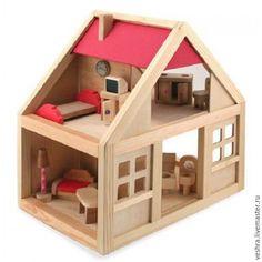 House for Dolls / Деревянный домик с мебелью - ярко-красный, дом, домик, дерево, деревянный, деревянный домик