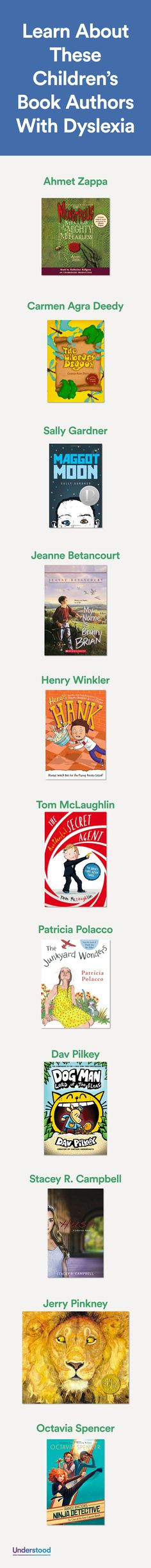 Findingcharacters to relate tocan help kids withdyslexiaget excited about reading. They may also be drawn to books written by authors who, like them, struggle with reading. Here are 11 authors with dyslexia.