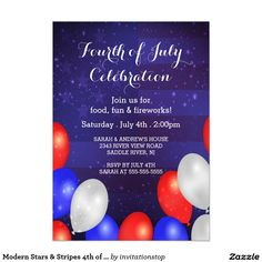 patriotic stars stripe 4th of july party card