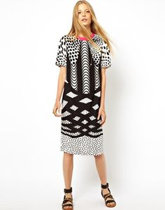 The monodash printed t-dress in white is well deserving of this category.  Eek !! Reduced from $111-  now $36-   EEK OUT!