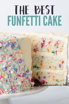 This is the best funfetti cake recipe ever. The cake layers are tall and fluffy with color sprinkles dotted throughout. This is the best funfetti cake recipe ever. The cake layers are tall and fluffy with color sprinkles dotted throughout. Delicious Cake Recipes, Best Cake Recipes, Yummy Cakes, Sweet Recipes, Easy Birthday Cake Recipes, Confetti Birthday Cake Recipe, Confetti Cake Recipes, Diy Birthday Cake, Confetti Cupcake Recipe From Scratch