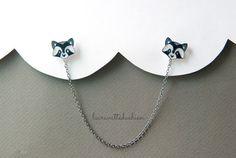 raccoon collar clips animal collar clip pins by lacravatteduchien, €18.00