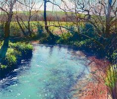 Artist Richard Thorn 'River Bend'  ,Watercolor