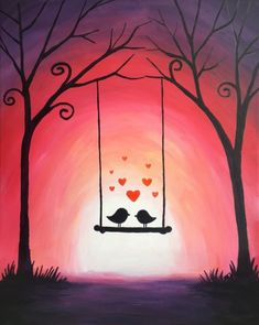 Simple Canvas Art For Kids Acrylic Paintings 60 Ideas For 2019 Art Drawings Simple, Small Canvas Art, Art Drawings, Amazing Art Painting, Oil Pastel Paintings, Creative Painting, Painting Art Projects, Love Birds Painting, Canvas Art Painting
