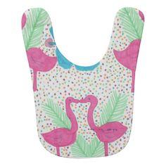 Flamingo Fun Tropical Pattern Bib