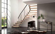 Escalier deux quarts tournants Epura bois métal Decoration, Stairs, Home Decor, Floor Layout, Stainless Steel, Decor, Stairway, Decoration Home, Staircases