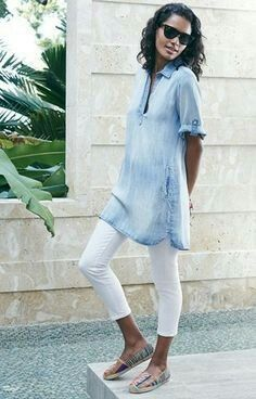 Sky blue tunic, white leggings and flats