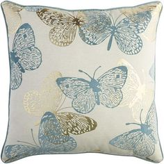 Spring Meadow Butterfly Oversized Pillow - Blue