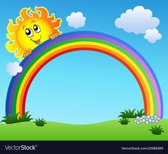 sun holding rainbow on blue sky - vector illustration. Borders For Paper, Borders And Frames, Drawing For Kids, Art For Kids, Ciel Art, Deco Stickers, Rainbow Images, School Murals, Rainbow Background