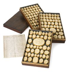 An extensive set of Italian intaglio impressions late 18th century after intaglios by Giovanni Pichler, approximately two hundred pieces, with original case dated 1799 and listing of contents. various sizes