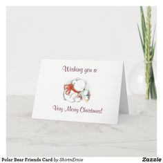 Polar Bear Friends Card Very Merry Christmas, Christmas Greetings, Cards For Friends, Business Supplies, Party Hats, Polar Bear, Kids Shop, Birthday Parties, Place Card Holders