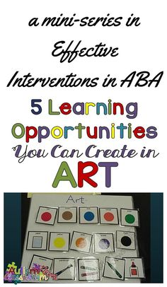 I have a love-hate relationship with art so this post focuses on the many things we can teach during art and some resources for projects.  5 Incidental Teaching Opportunities During Art from Autism Classroom Resources.
