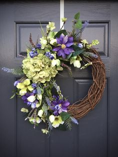 Spring Wreaths, Hydrangea Wreaths, Purple Green, Green Hydrangeas, Spring Door Wreaths, Spring Decor, Gift for Her, Floral Wreaths by WreathsByRebeccaB on Etsy