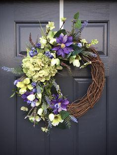 Spring Wreaths, Hydrangea Wreaths, Purple Green, Green Hydrangeas, Spring Door Wreaths, Spring Decor, Gift for Her, Floral Wreaths by WreathsByRebeccaB on Etsy