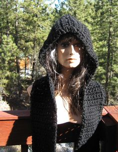 Black Magic Hooded Scarf/Scoodie Hand Crocheted Knit Wool Blend Chunky Free US Shipping