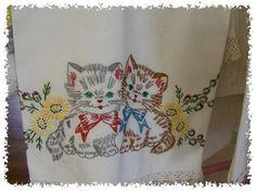cute kitties vintage embroidery linen