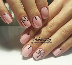 Simple pink black nails swag