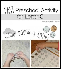 cloud dough and coins for letter c the measured mom1 590x672 Sensory Play for Letter C