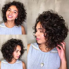 Luxurious Angled Curly Bob / The triangular wedge shape of this angled curly bob frames the face with touchable curls and adds nice height to the crown section. hairstyles bob 65 Different Versions of Curly Bob Hairstyle Bob Haircut Curly, Wavy Bob Hairstyles, Haircuts For Curly Hair, Naturally Curly Haircuts, Short Curly Hairstyles, Wedding Hairstyles, Medium Curly Haircuts, Trendy Haircuts, Modern Haircuts