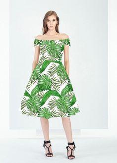 Vintage Boat Neck Green Leaf Print Retro Hepburn Style 50's Dress