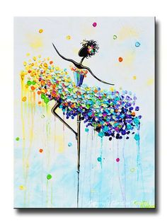 """GICLEE PRINT Art Abstract Dancer Painting Colorful CANVAS Prints Dance Wall Decor Lavender Blue Impasto Modern Art Aqua Blue White Yellow Green MATCHING SET of 2 Sizes to 60"""" -Christine"""
