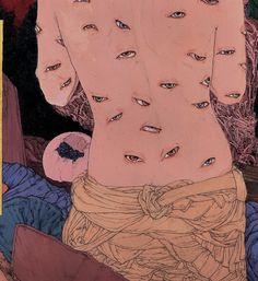 Yamamoto - Japanese Illustration - Heisei Estheticism - Eyes are everywhere.Takato Yamamoto - Japanese Illustration - Heisei Estheticism - Eyes are everywhere. Japan Illustration, Technical Illustration, Arte Horror, Horror Art, Inspiration Art, Art Inspo, Yamamoto, Walton Ford, Art Kawaii