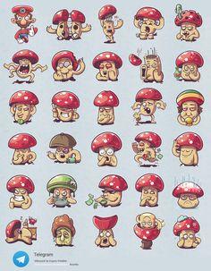 "via Muzli. ""Weekly Inspiration for Designers is published by Muzli in Muzli - Design Inspiration. Mushroom Drawing, Mushroom Art, Piskel Art, Cartoon Mushroom, Pizza Art, 2d Game Art, Graffiti Characters, Drawing Reference Poses, Drawing Ideas"