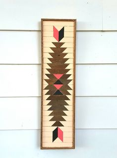 Handmade, designed, original art, created, signed and dated by Michael Hutton. Southwest style wood wall art from reclaimed wood. Lath art that is approx. 30.75 inches by 8.75 inches wide by 1.5 inches deep. Background is painted in a sun kissed peach and the design is old natural