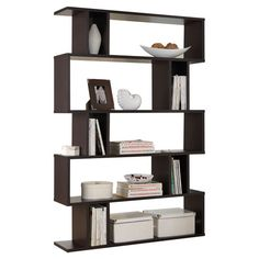Bring contemporary appeal to your living room or den with this eye-catching bookcase, showcasing a geometric silhouette and 5 open shelves for displaying fra...