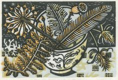 "Angie Lewin ""Teabowl and Bracken"" limited edition wood engraving http://www.angielewin.co.uk/products/teabowl-bracken"