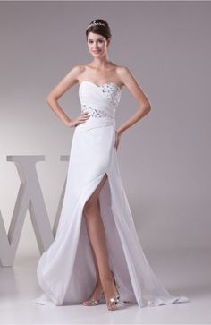 White Sexy Garden A-line Sleeveless Backless Split-Front Bridal Gowns