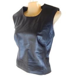 Black Leather Shirt Women's Top Sleeveless