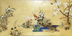 Suzuki Kiitsu. 1854. Four Seasons screen. Right of a pair of Japanese folding screens. 漆絵 鈴木其一の名作_四季花鳥図