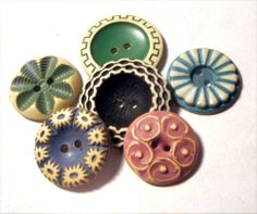 LOT 6 Vintage BUFFED CELLULOID Buttons Variety