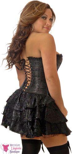 I Love Plus Size Lingerie - Plus Size Black Lace Corset Dress, $55.99 (http://www.iloveplussizelingerie.com/plus-size-black-lace-corset-dress/)